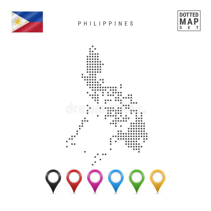 Vector Gestippelde Kaart van Filippijnen Eenvoudig Silhouet van Filippijnen Vlag van Filippijnen Reeks Multicolored Kaarttellers stock illustratie