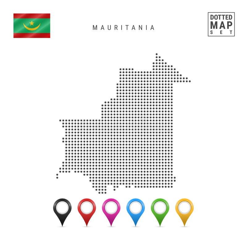 Vector Gestippelde Kaart van Mauretanië Eenvoudig Silhouet van Mauretanië Vlag van Mauretanië Reeks Multicolored Kaarttellers royalty-vrije illustratie