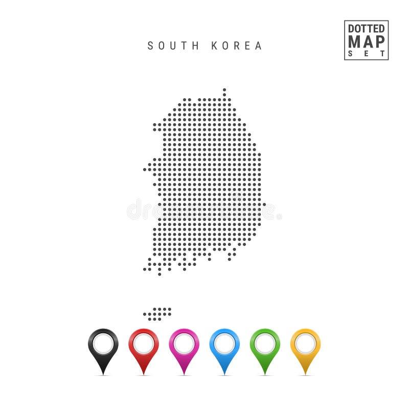Vector Gestippelde Kaart van Zuid-Korea Eenvoudig Silhouet van Zuid-Korea Reeks Multicolored Kaarttellers royalty-vrije illustratie