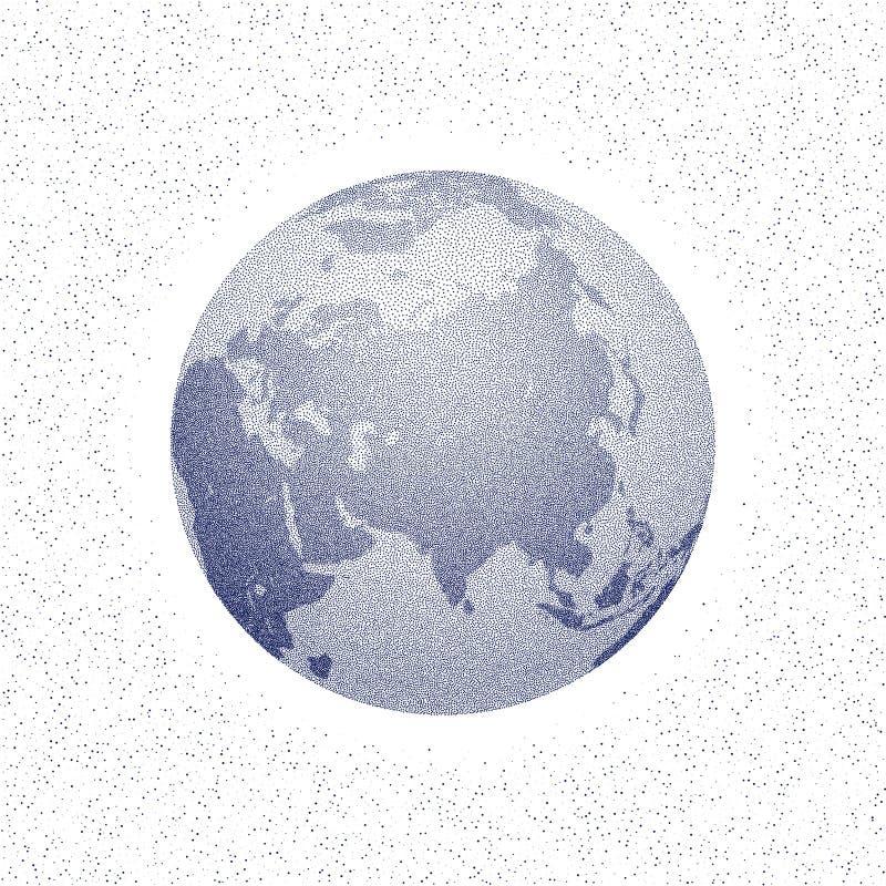 Vector gestippelde wereld gestileerde bol azië vector illustratie