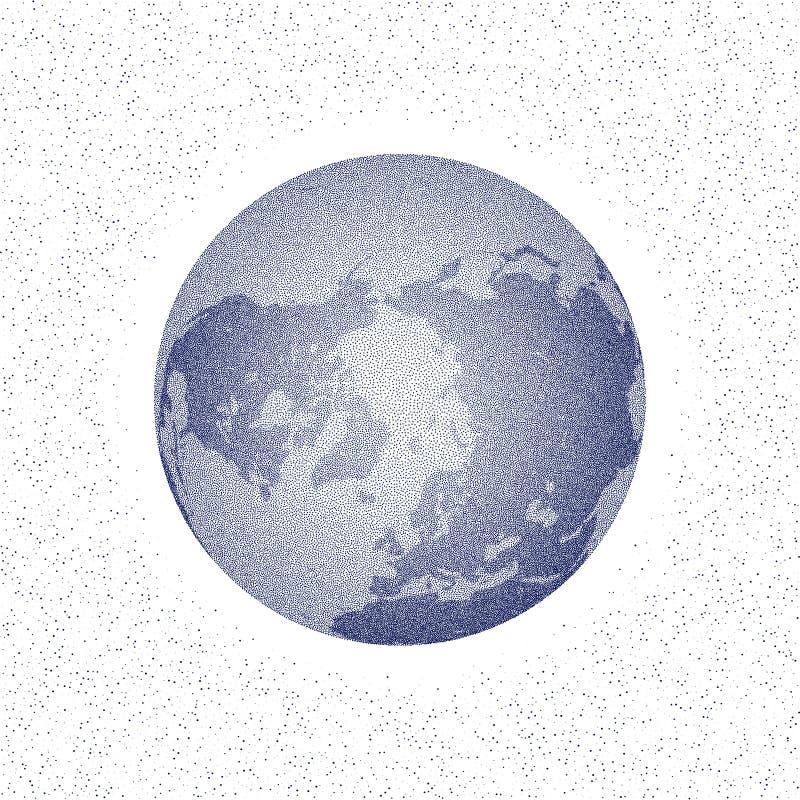 Vector gestippelde wereld gestileerde bol kleine pinguïnen op het ijs bij nacht vector illustratie