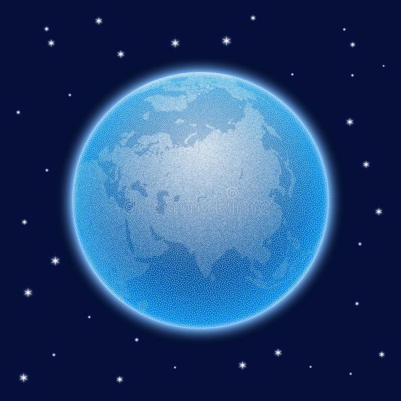 Vector gestippelde wereld gestileerde bol met atmosfeer royalty-vrije illustratie