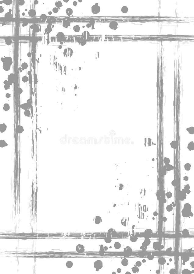 Vector getrokken achtergrond met kader, grens Grungemalplaatje met plons, nevelslijtage, barsten Oud stijl uitstekend ontwerp Gra vector illustratie