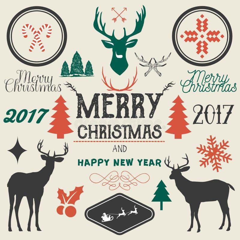 Vector getrokken hand Vrolijke Kerstmis, de Gelukkige elementen van het Nieuwjaarontwerp stock illustratie