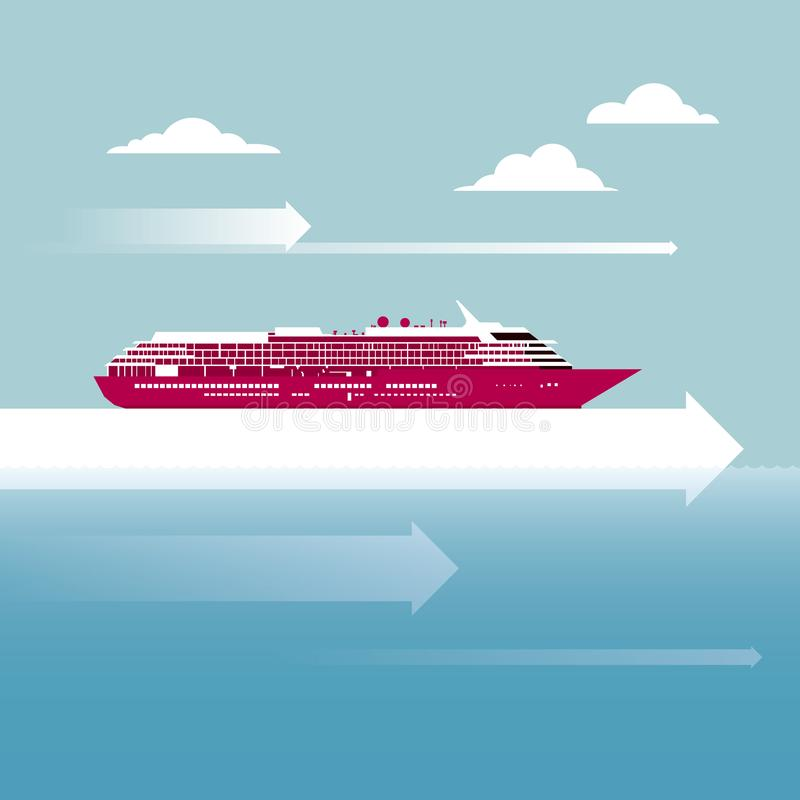 Vector getrokken lijnboot royalty-vrije illustratie