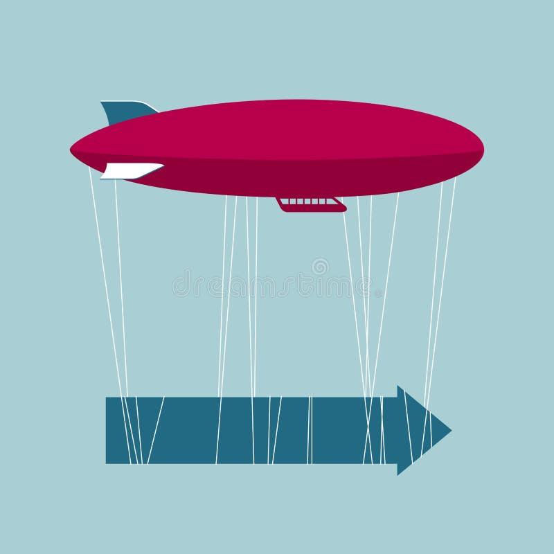 Vector getrokken luchtschip en pijlen royalty-vrije illustratie