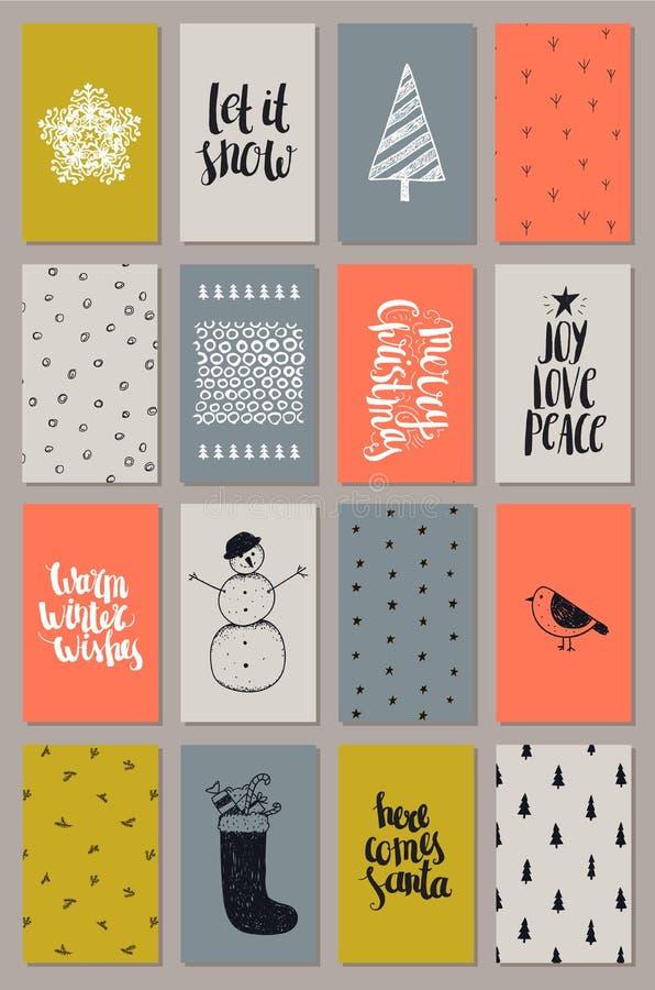 Vector getrokken reeks van artistieke hand Kerstmis, Nieuwjaarskaarten Vakantie het van letters voorzien, texturen, achtergronden royalty-vrije illustratie