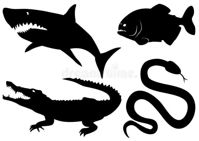 Vector gevaarlijke roofzuchtige dieren vector illustratie