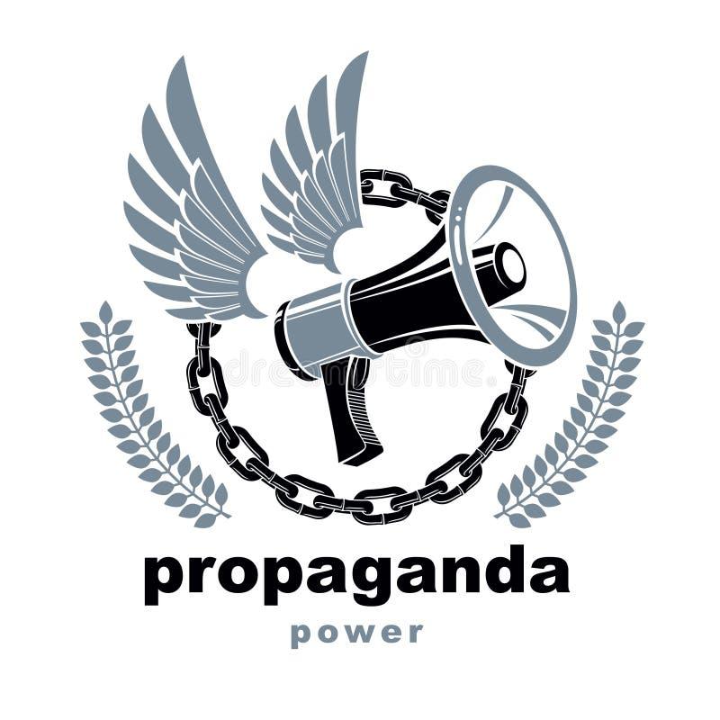 Vector gevleugeld die embleem met luidsprekersmateriaal wordt samengesteld door ijzerketting wordt omringd Propaganda als middele stock illustratie