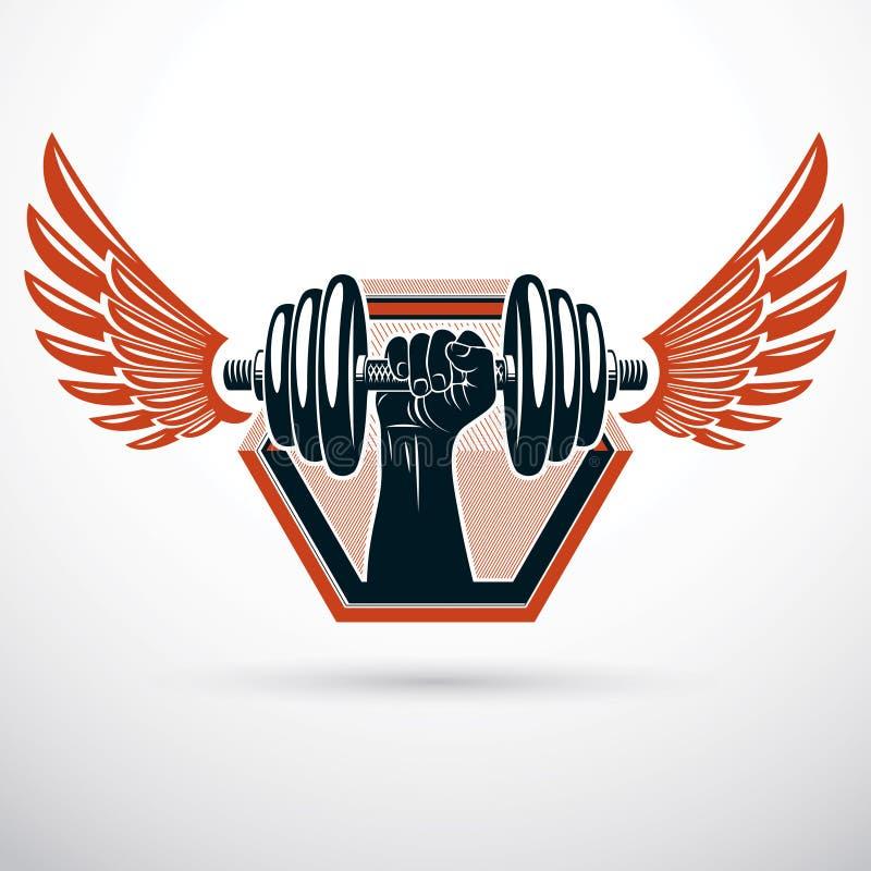 Vector gevleugelde illustratie, holding van het bodybuilder de spierwapen dum royalty-vrije illustratie
