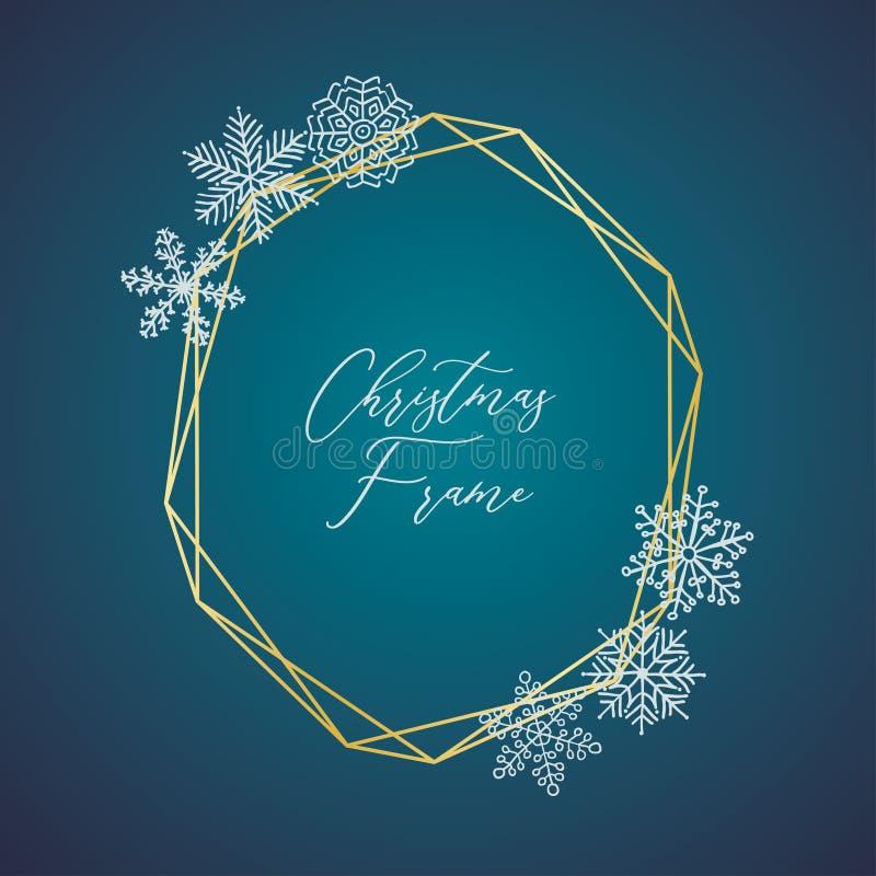 Vector Gevoelig Kerstmis Gouden Kader met Sneeuwvlokken stock illustratie
