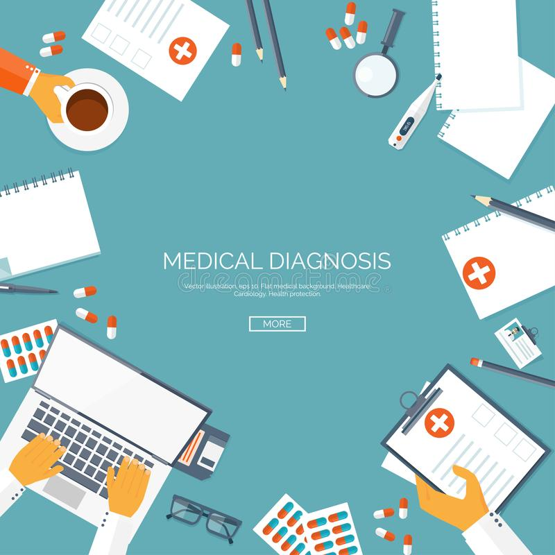 Vector gevoerde illustratie, Vlakke medische achtergrond Kenmerkende eerste hulp Medisch onderzoektherapie Globale Gezondheidszor vector illustratie