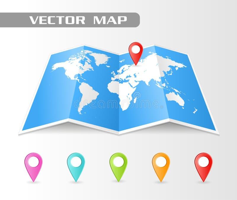 Vector Gevouwen kaart van de wereld royalty-vrije illustratie