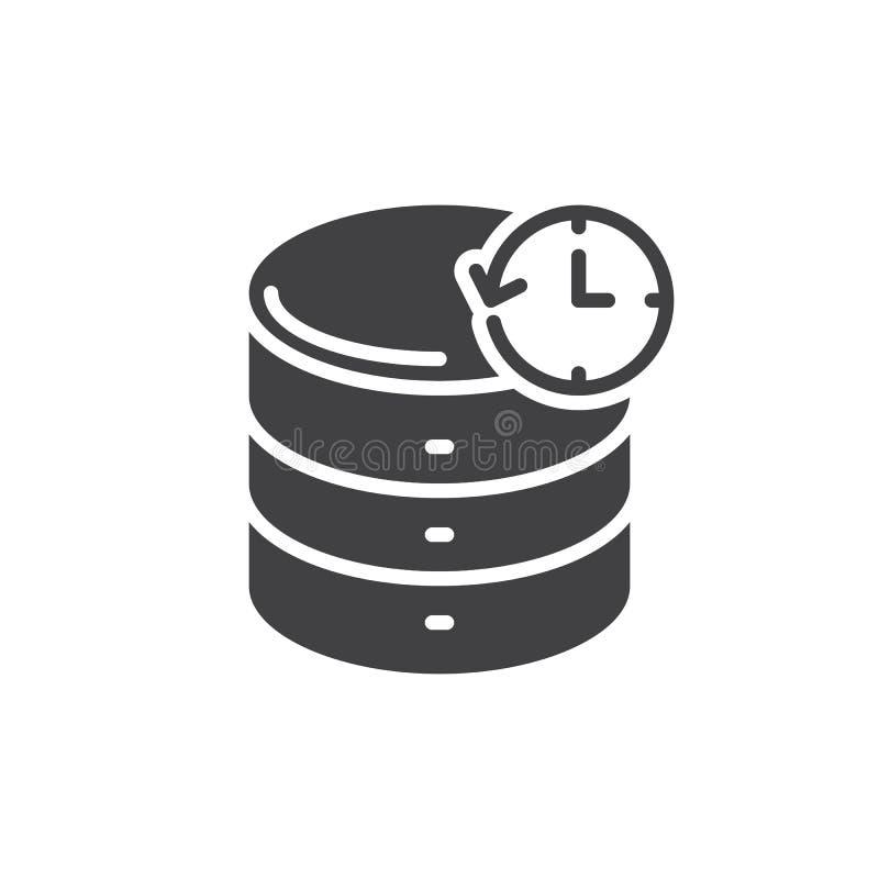 Vector, gevulde vlakke teken van het gegevensbestand het reservepictogram, stevig die pictogram op wit wordt geïsoleerd Symbool,  stock illustratie