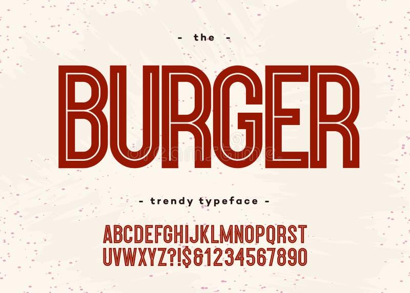 Vector gewaagde hamburgerdoopvont stock illustratie