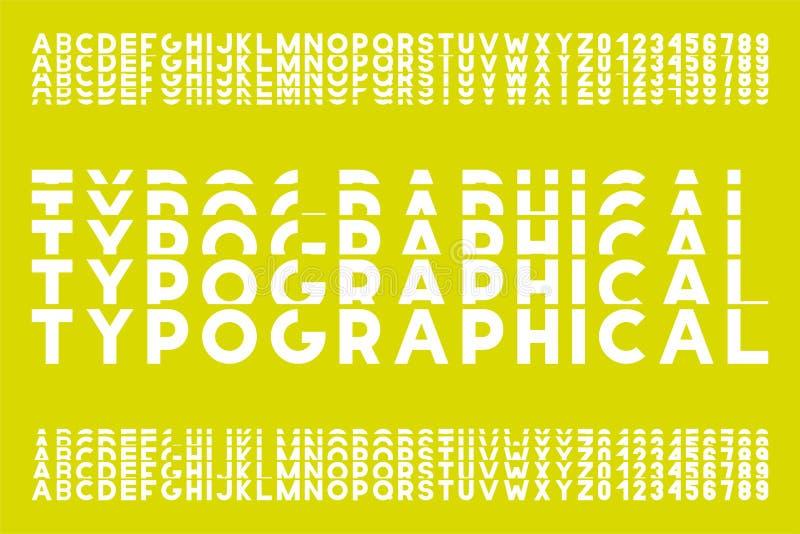 Vector gewaagde moderne doopvont - gesneden stijl In Engels alfabet Eenvoudige minimalistic modieuze Latijnse letters en getallen royalty-vrije illustratie