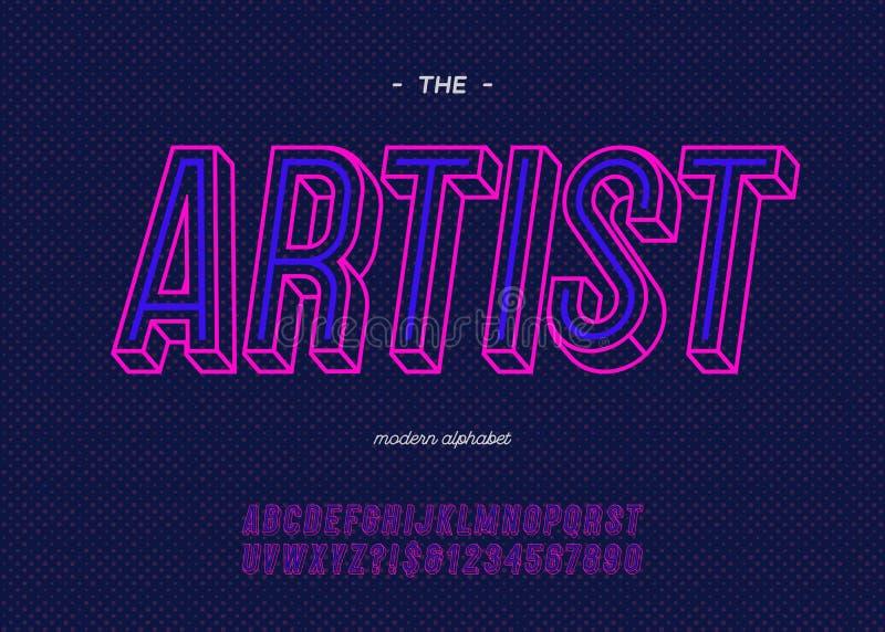 Vector gewaagde van de de doopvont in typografie van de neonkunstenaar de kleurenstijl vector illustratie