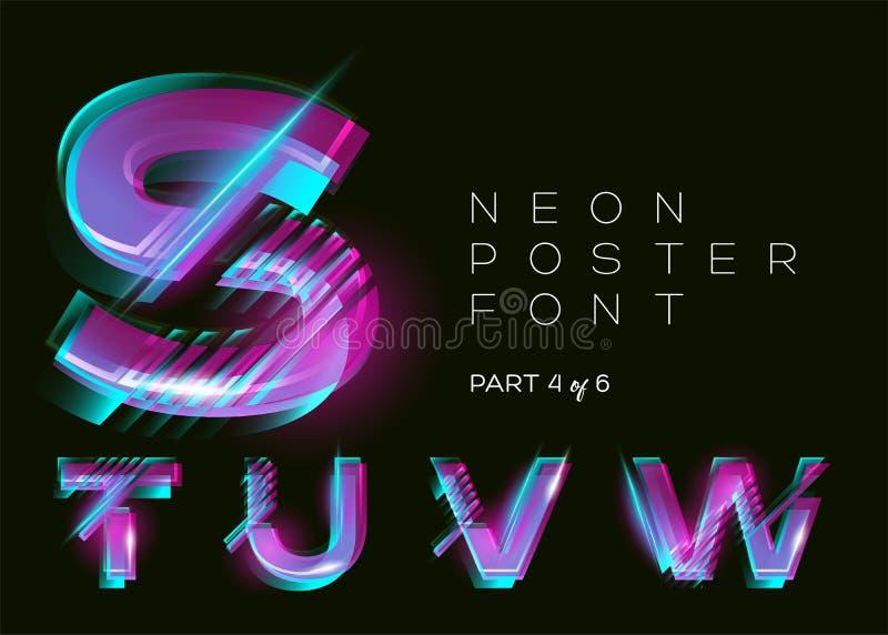 Vector Gezet Neon Glanzende In Brieven Fluorescente Glitch royalty-vrije illustratie