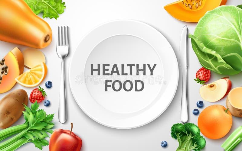 Vector gezond voedsel, organisch fruit bij gediende lijst royalty-vrije illustratie