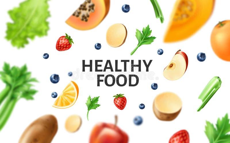 Vector gezond voedsel, organisch fruit bij houten lijst stock illustratie