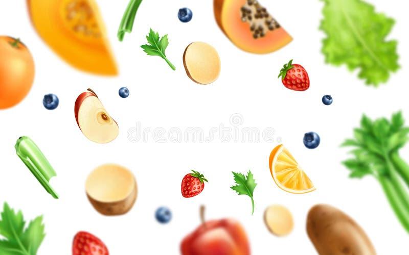 Vector gezond voedsel, organisch fruit bij houten lijst vector illustratie
