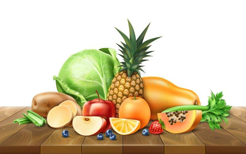 Vector gezond voedsel, organisch fruit bij houten lijst royalty-vrije illustratie