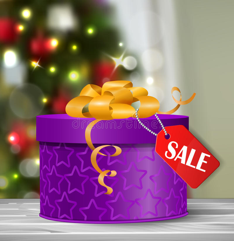 Vector gift box illustration. On white background with hanging sale tag Boxing day on Christmas tree background bokeh royalty free illustration