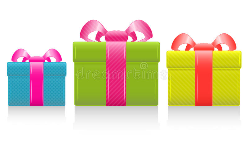 Vector gift box with silk bow. Gift box with silk pink bow. Vector Illustration. EPS8 stock illustration