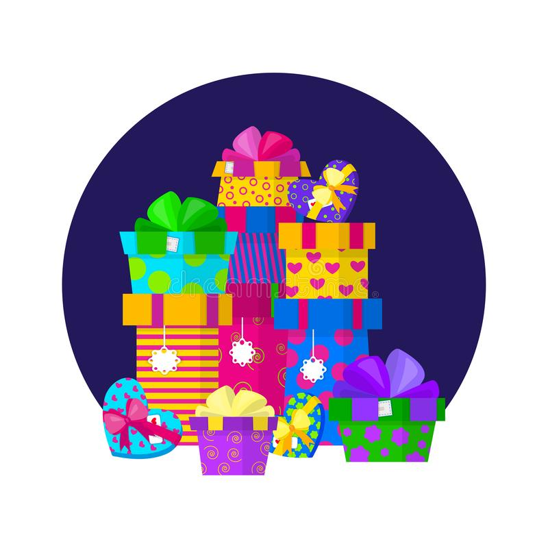 Vector gift pile design in flat style royalty free illustration