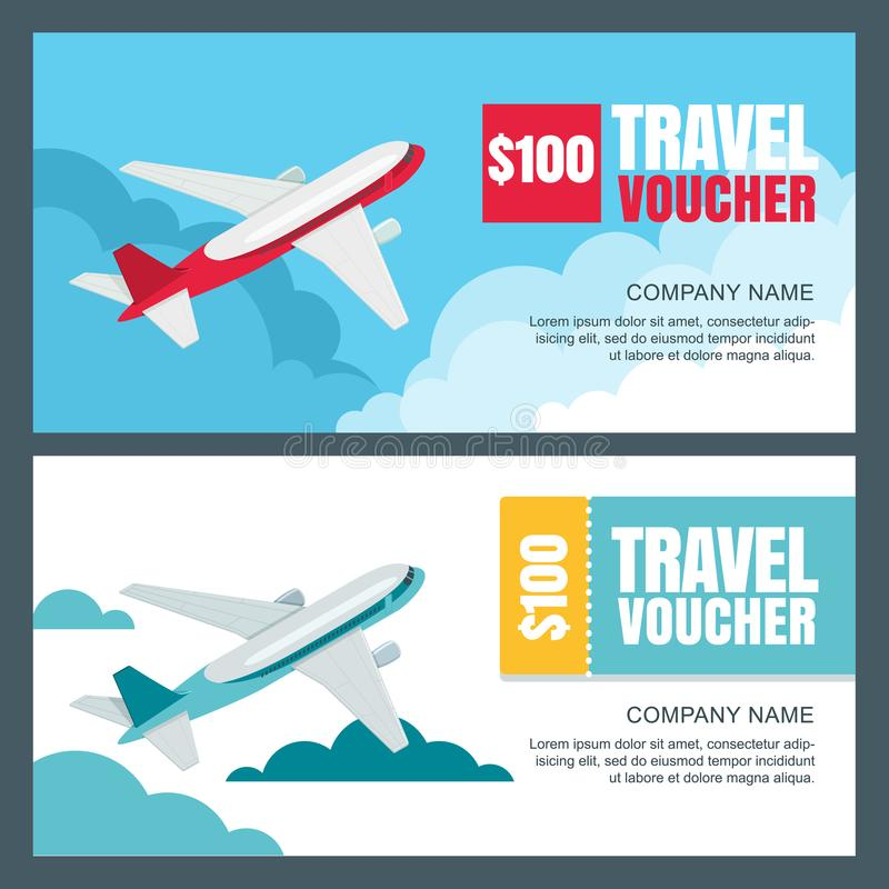 Travel Gift Vouchers Wedding Gifts: Vector Gift Travel Voucher Template. Flying Airplane In