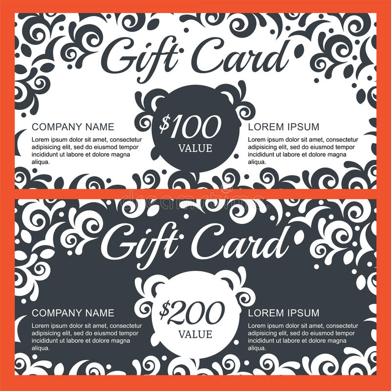 Vector Gift Voucher, Card With Floral Background. Decorative Bl ...
