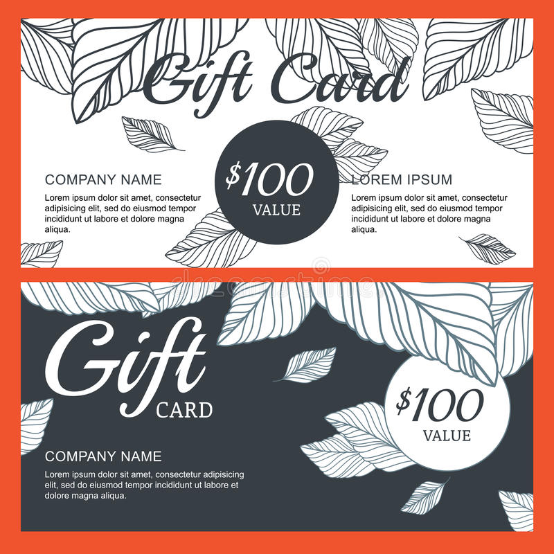 Vector Gift Voucher, Card Template With Hand Drawn Autumn Leaves ...