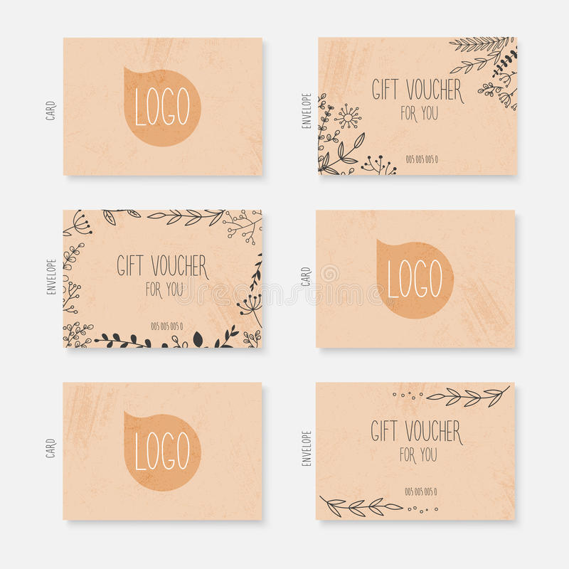 Vector gift voucher, card template with hand drawn leaves background. Gift certificate. Background design gift coupon, voucher, c vector illustration