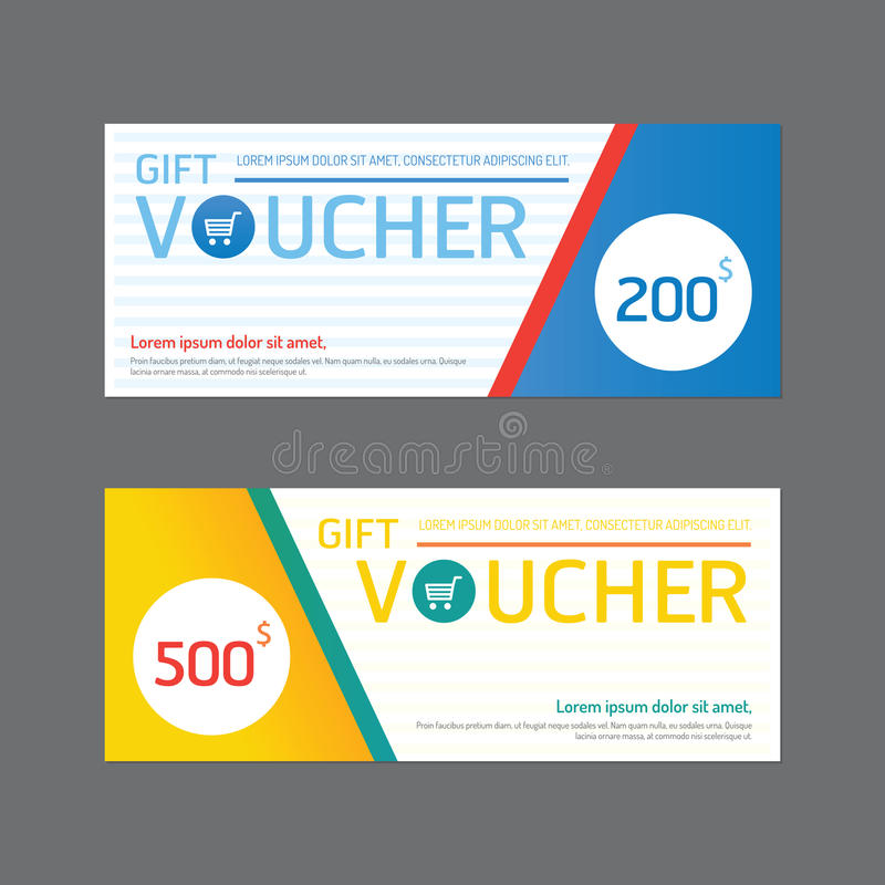 Vector gift voucher coupon template design. paper label frame mo royalty free illustration