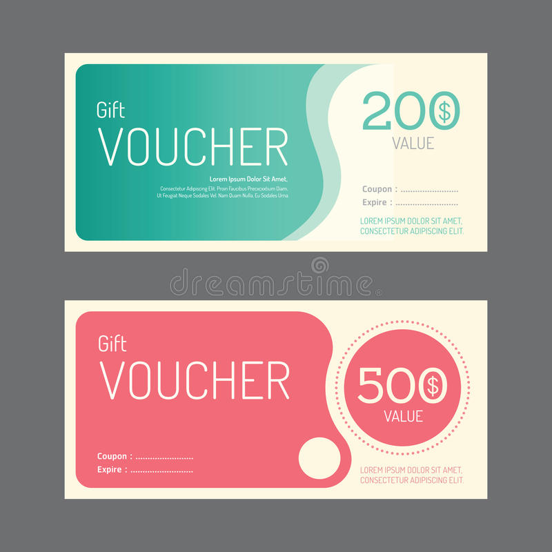Vector gift voucher coupon template design. paper label frame stock illustration