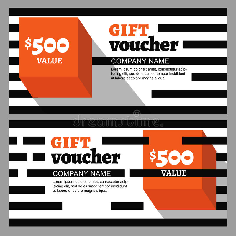 vector gift voucher with striped pattern and orange cube stock vector image 61858886. Black Bedroom Furniture Sets. Home Design Ideas