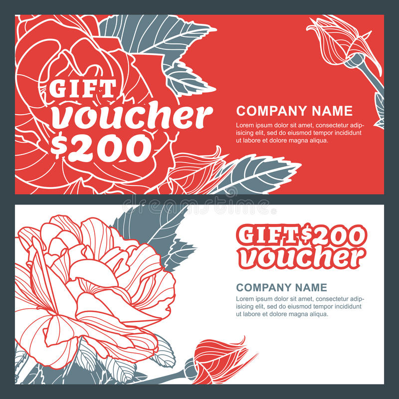 Vector gift voucher, summer design with red roses flowers. Business floral card template. vector illustration