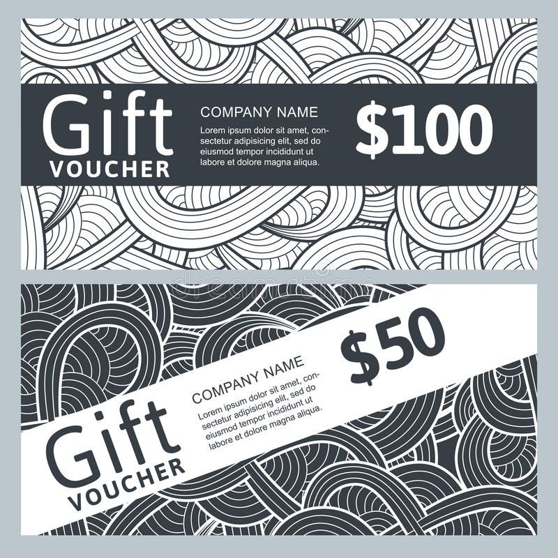 Vector Gift Voucher Template With Abstract Hand Drawn Waves. Black ...