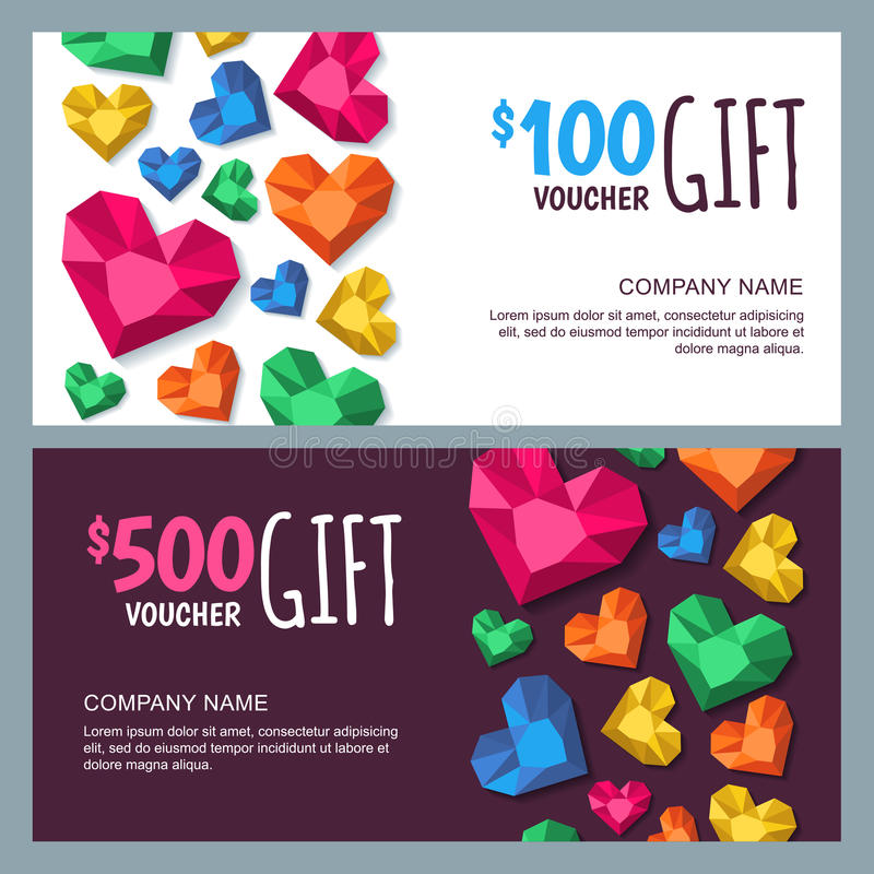 Vector gift voucher template with diamonds gems jewels in heart vector gift voucher template with diamonds gems jewels in heart shape holiday card or banner background design for jewelry or accessories shop gift yelopaper Images
