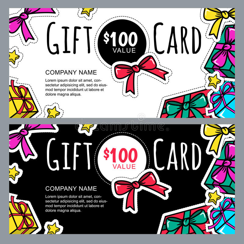Vector gift voucher template with gift box patches and stickers. Christmas or New Year holidays cards. stock illustration