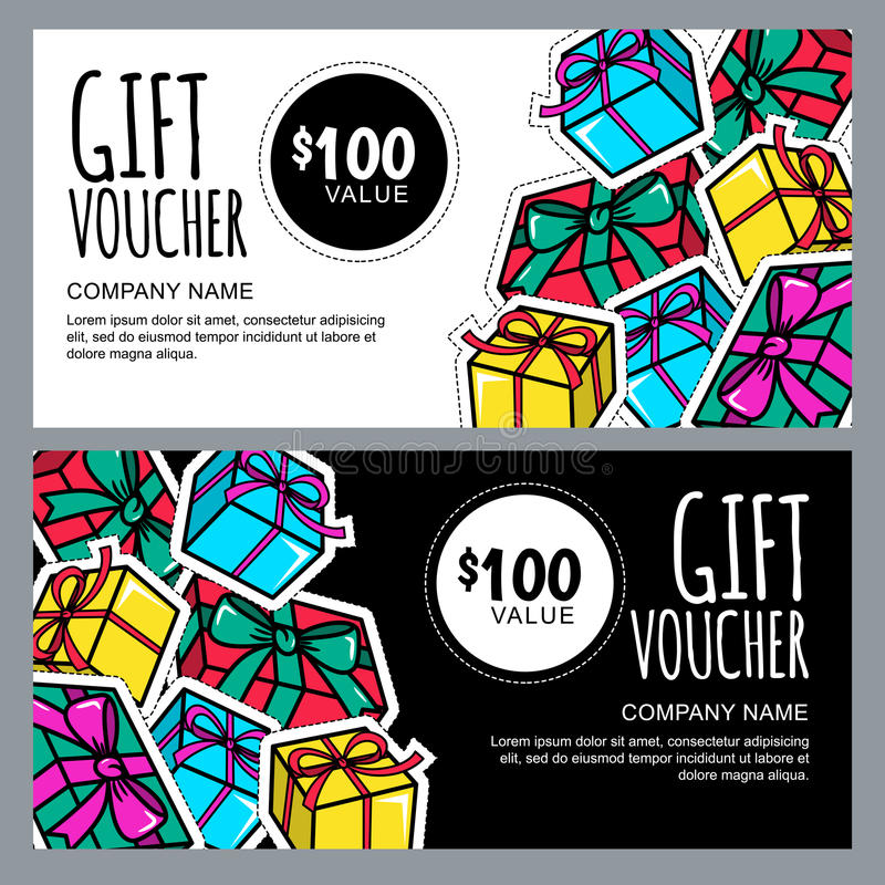 Vector gift voucher template with gift box patches and stickers. Christmas or New Year holidays cards in 80s, 90s comic style. royalty free illustration