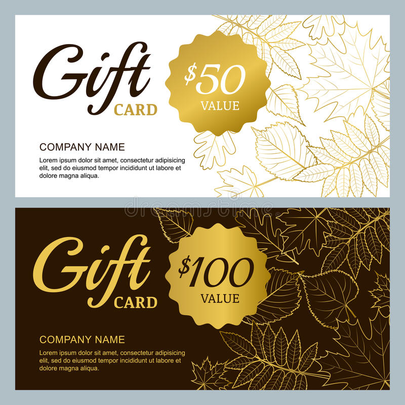 Vector gift voucher template with golden outline fall leaves gold download vector gift voucher template with golden outline fall leaves gold black and white yadclub Gallery