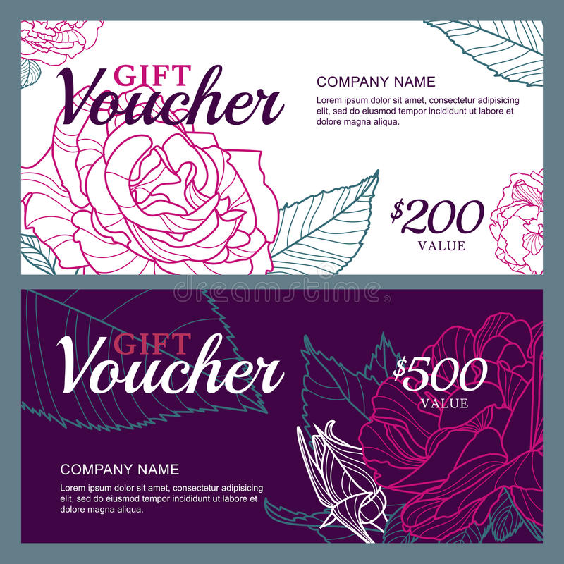 Vector gift voucher template with pink roses flowers for Free beauty gift voucher template