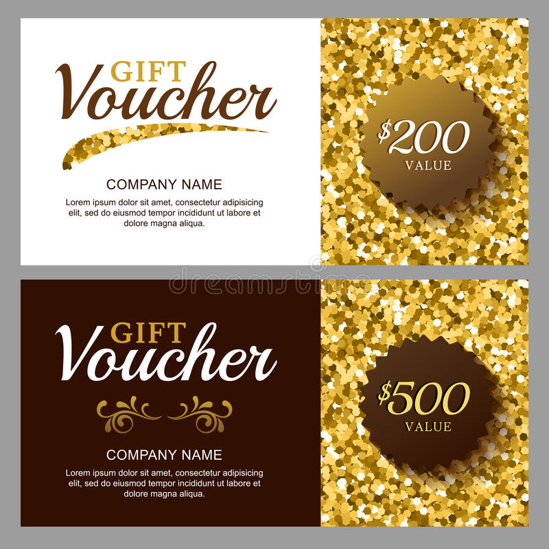 Free Vector Gift Voucher With Golden Sparkling Pattern. Royalty Free Stock Image - 62485756