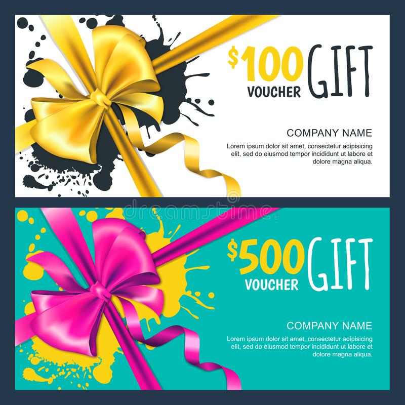 Vector gift vouchers with realistic bow ribbon. Fashion design layout for gift coupon, banner, certificate, flyer, royalty free illustration