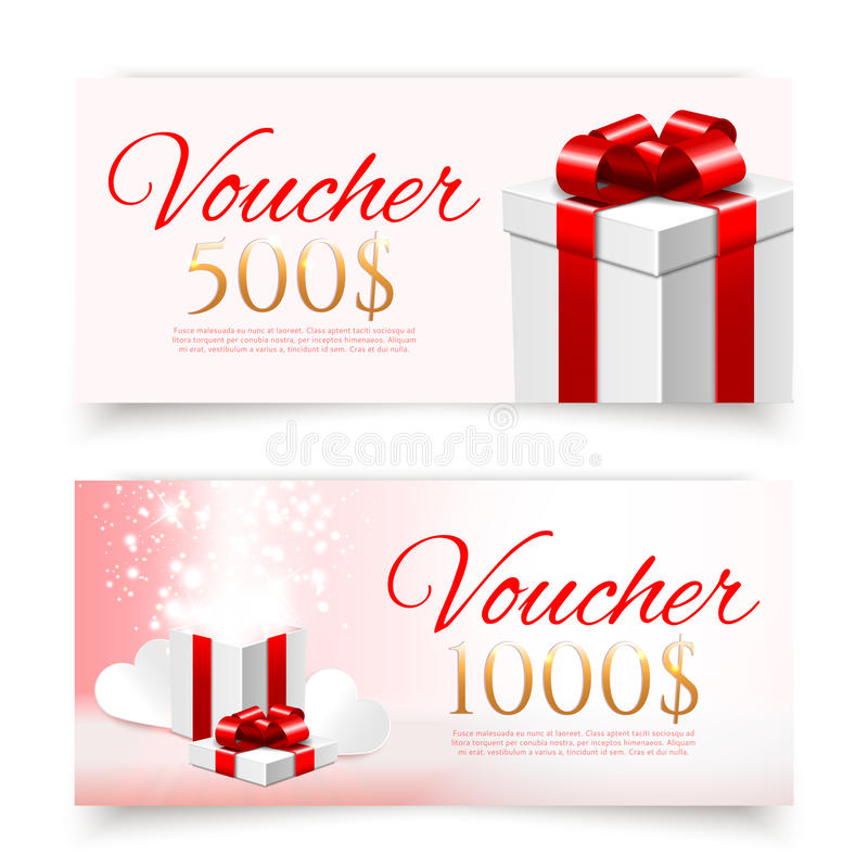 Free Vector Gift Vouchers With Gift Boxes Stock Image - 50757391