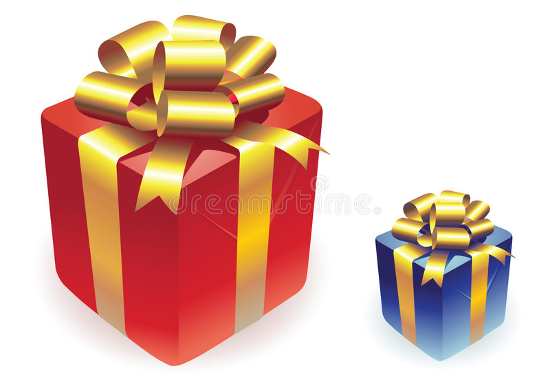Vector gifts boxes. Isolated on white royalty free illustration