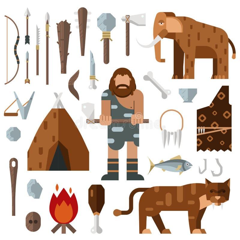 Vector gigantesco del hueso de la hoguera de la cueva del hombre de las cavernas de la Edad de Piedra de la vida ilustración del vector