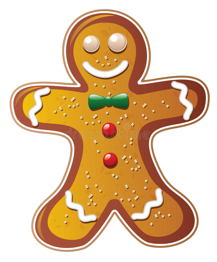 Vector gingerbread cookie. Man isolated on white royalty free illustration