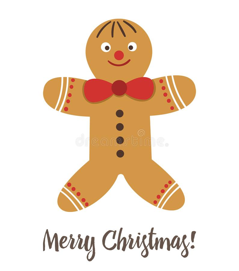 Vector gingerbread man with red bow isolated on white background. Cute funny illustration of new year symbol. Christmas flat style picture for decorations or vector illustration